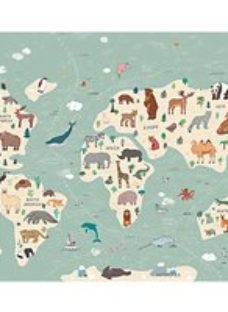 ohpopsi Illustration of a Children?s World Map Wall Mural - L 3m (W) x 2.4m (H)