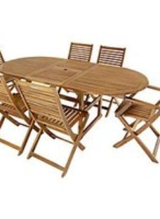 Charles Bentley FSC Acacia Wooden 6 Seater Oval Extendable Dining Seat