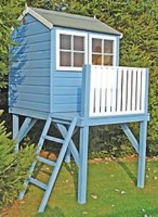 Shire 4 x 4ft Bunny & Platform Elevated Wooden Playhouse with Balcony