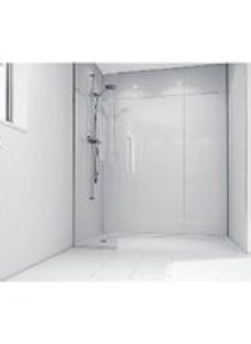 Mermaid White Acrylic 2 Sided Shower Panel Kit 1200mm x 900mm