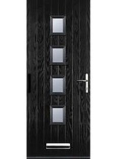 Euramax 4 Square Black Left Hand Composite Door 840mm x 2100mm