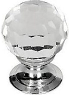 Wickes Glass Faceted Door Knob - Polished Chrome 30mm Pack of 6