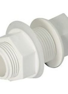 FloPlast OS14W Overflow System Straight Tank Connector - White 21.5mm