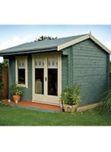 Shire Marlborough 12 x 10ft Large Chalet-Style Double Door Garden Summer House with Canopy
