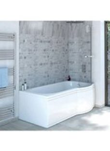 Wickes Valsina Right Hand P-Shaped Undrilled Shower Bath - 1675 x 800mm