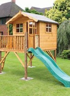 Mercia 12 x 5ft Wooden Poppy Playhouse including Tower & Slide
