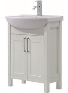 Wickes Frontera White Freestanding Traditional Vanity Unit With Basin - 830 x 645mm