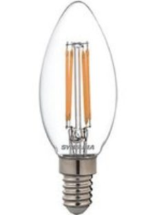 Sylvania LED Candle Retro Filament Lamp  Dimmable 470Lm  40W Equivalent  Warm White  E14 Cap Fitting
